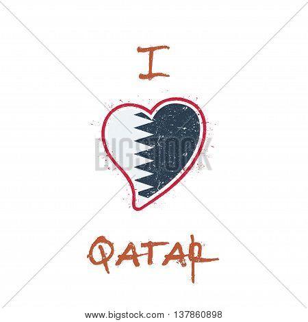 Qatari Flag Patriotic T-shirt Design. Heart Shaped National Flag Qatar On White Background. Vector I