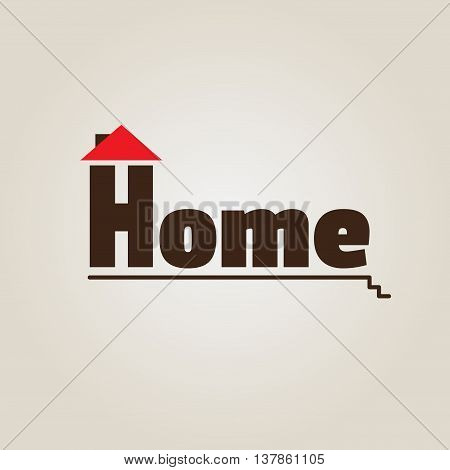 House logo. House with red roof. Icon vector