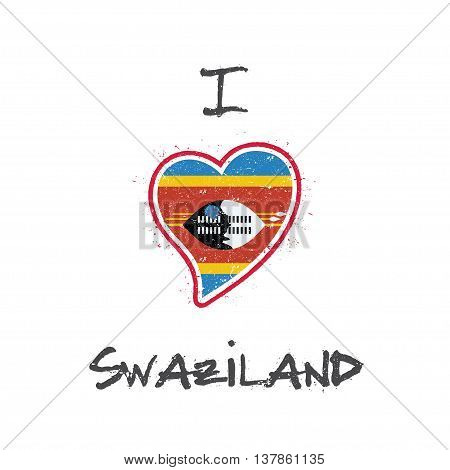 Swazi Flag Patriotic T-shirt Design. Heart Shaped National Flag Swaziland On White Background. Vecto