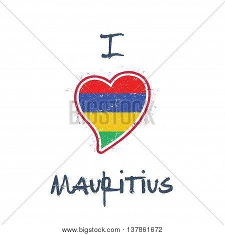 Mauritian Flag Patriotic T-shirt Design. Heart Shaped National Flag Mauritius On White Background. V