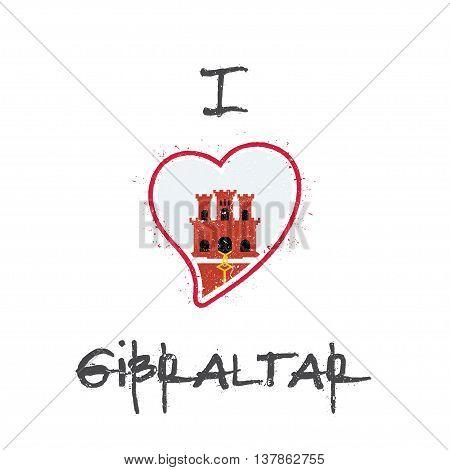 Gibraltar Flag Patriotic T-shirt Design. Heart Shaped National Flag Gibraltar On White Background. V