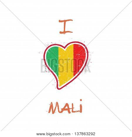 Malian Flag Patriotic T-shirt Design. Heart Shaped National Flag Mali On White Background. Vector Il