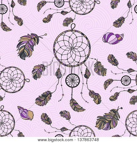 Seamless pattern with hand drawn native Indian-American dream catcher. zentangle dream catcher. Boho styled. Vector.