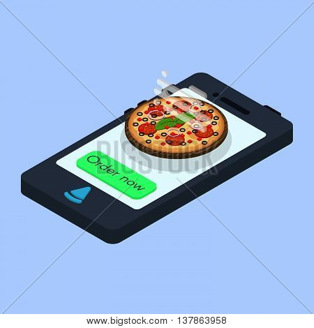 Vector concept of online pizza order. Isometric smartphone with the button