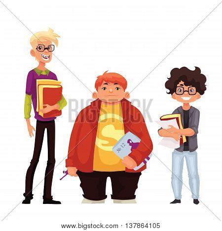 Vector illustration of cartoon style nerd schoolboys isolated on white background. Group of nerd school boys teenagers students with book and glasses.