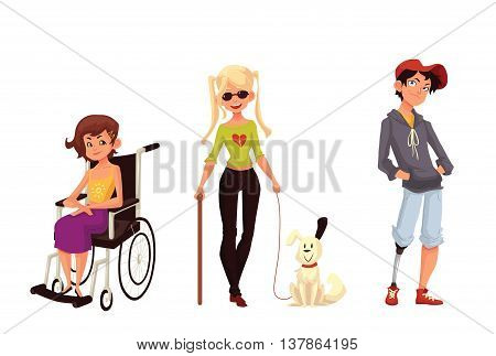 Group of disabled children, cartoon vector illustration isolated on white background. Special needs, handicapped kids. Girl in wheelchair, blind girl with stick and assistance dog, boy with prostheses