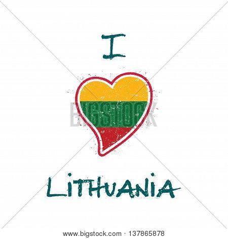 Lithuanian Flag Patriotic T-shirt Design. Heart Shaped National Flag Lithuania On White Background.