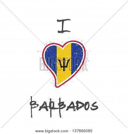 Barbadian Flag Patriotic T-shirt Design. Heart Shaped National Flag Barbados On White Background. Ve