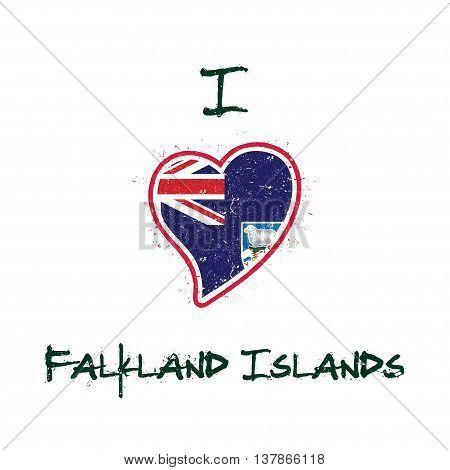 Falkland Islander Flag Patriotic T-shirt Design. Heart Shaped National Flag Falkland Islands (malvin