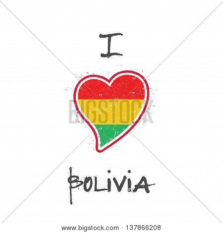 Bolivian Flag Patriotic T-shirt Design. Heart Shaped National Flag Bolivia On White Background. Vect
