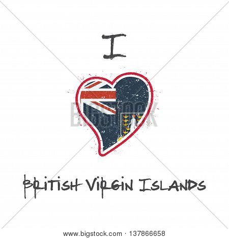 Virgin Islander Flag Patriotic T-shirt Design. Heart Shaped National Flag Virgin Islands, British On