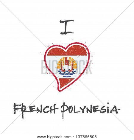 French Polynesian Flag Patriotic T-shirt Design. Heart Shaped National Flag French Polynesia On Whit