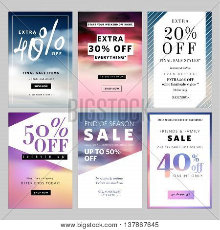 Set of sale banners vector illustration for websites and mobile websites. Product promotion, sale, clearance, online shopping for fashion, cosmetics.