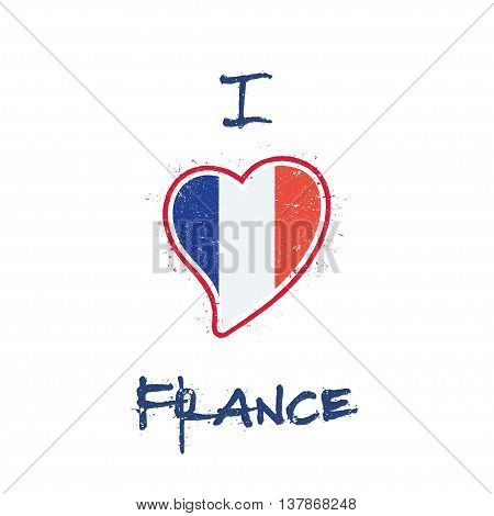 French Flag Patriotic T-shirt Design. Heart Shaped National Flag France On White Background. Vector