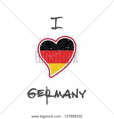 German Flag Patriotic T-shirt Design. Heart Shaped National Flag Germany On White Background. Vector