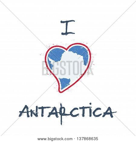 Antarctica Flag Patriotic T-shirt Design. Heart Shaped National Flag Antarctica On White Background.