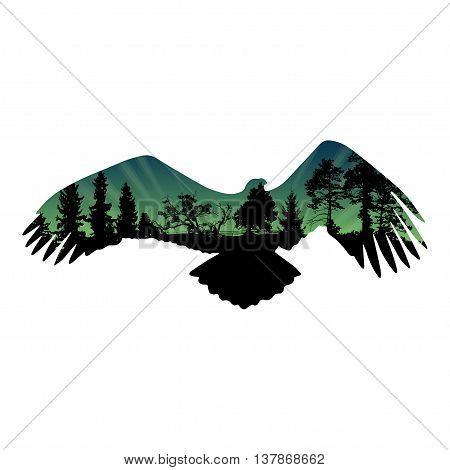 Eagle silhouette with fur tree and pine tree. Isolated on white background. Vector illustration.