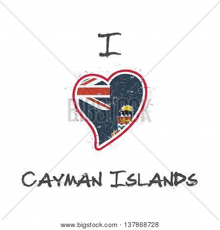 Caymanian Flag Patriotic T-shirt Design. Heart Shaped National Flag Cayman Islands On White Backgrou