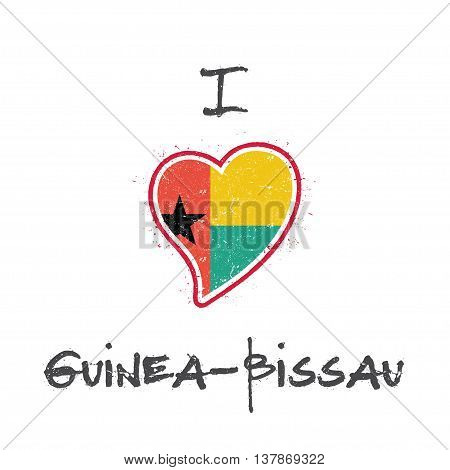Guinea-bissauan Flag Patriotic T-shirt Design. Heart Shaped National Flag Guinea-bissau On White Bac