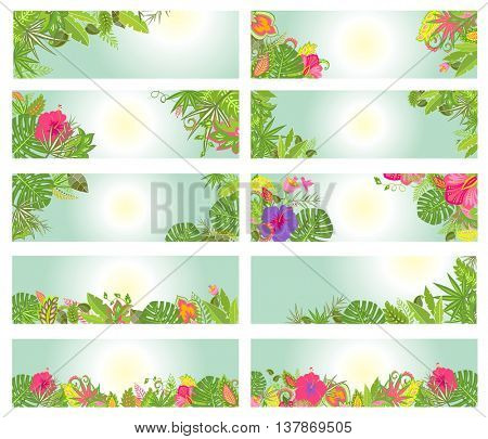 Set of summery horizontal banners with tropical flowers