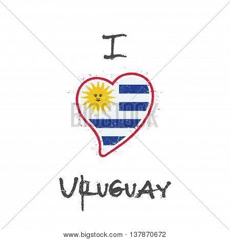 Uruguayan Flag Patriotic T-shirt Design. Heart Shaped National Flag Uruguay On White Background. Vec