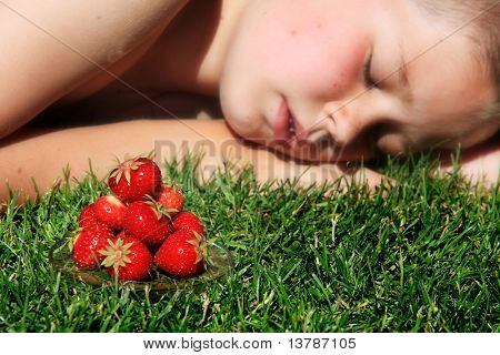 Boy And Strawberries