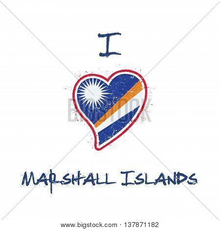 Marshallese Flag Patriotic T-shirt Design. Heart Shaped National Flag Marshall Islands On White Back