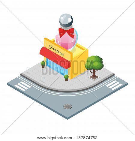 Isometric 3d vector illustration of perfumery. Shop that sells various perfumes. City landscape.