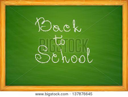 Back to school on green school blackboard vector