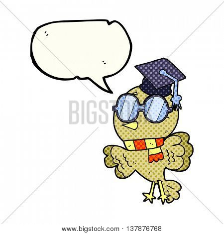 cute freehand drawn comic book speech bubble cartoon well educated bird