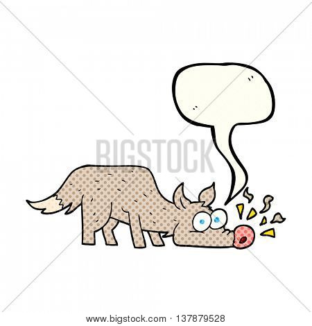 freehand drawn comic book speech bubble cartoon dog sniffing