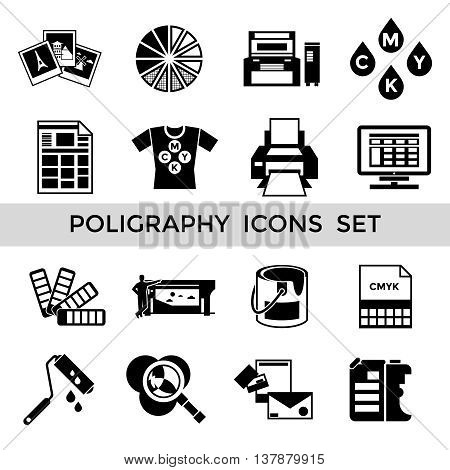 CMYK black polygraphy icon set with equipment tools and accessories for printing vector illustration