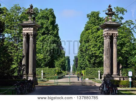 The Entrance To The Gardens, Palaces Schloss Sanssouci In Potsdam