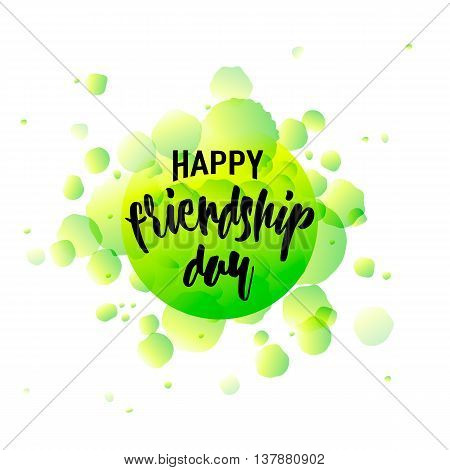 Vector illustration of Happy Friendship day typography design isolated on white background with rough dots. Used as greeting cards, felicitation posters, congratulation print, t-shirt for your friends.