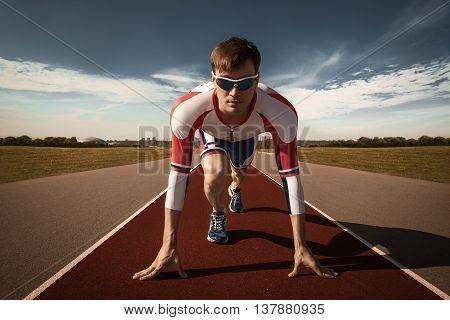 Runner ready to start. Summer Olympics. Triathlon