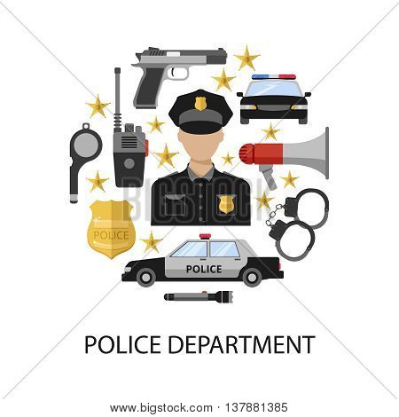 Police department round design with officer in center megaphone gun car handcuffs badge radio stars vector illustration
