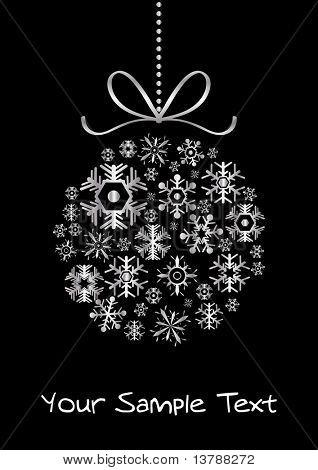 Vector of xmas ball made of silver snowflakes