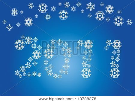 Vector illustration of number of new year with snowflakes