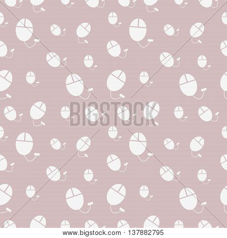 Vector seamless pattern chaotic pastel shadeless background with PC mouse