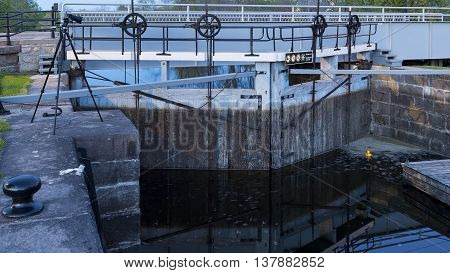 A set of lock gates on the Rideau Canal in the town of Merrickville  Ontario