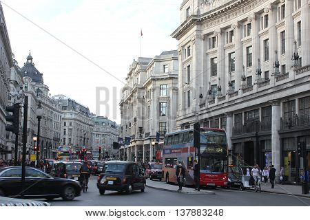 LONDON, UNITED KINGDOM - SEPTEMBER 11 2015: Regent Street in London with its daily traffic