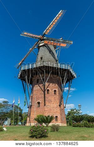 Holambra, Brazil - July 2016 - A Functional Full-scale Traditional Dutch-style Windmill