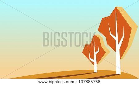 Autumn vector illustration autumn background simple autumn landscape with trees on field