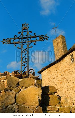 Metal cross from ironwork at castle