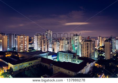 Sao Paulo, Brazil - Feb 8 2016 - Perdizes neighborhood at night