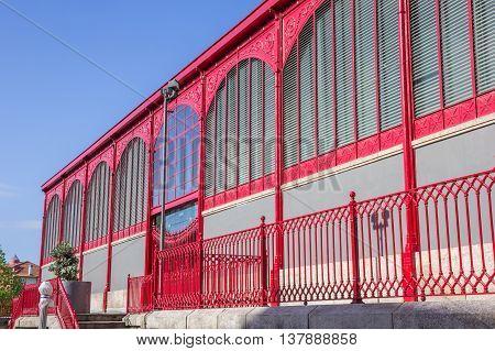Detail of the Mercado Ferreira Borges in Porto Portugal