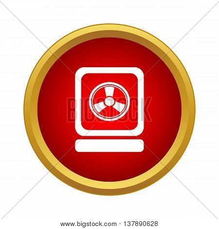 Sign of radiation icon in simple style in red circle. Laboratory symbol poster