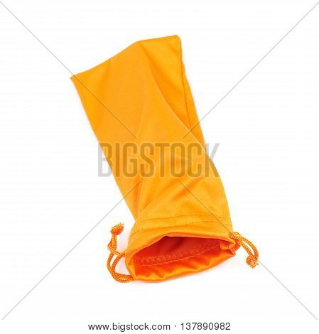 Protection orange pouch bag with the drawstrings isolated over the white background