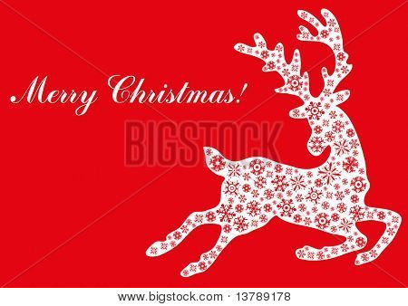 Vector illustration of jumping reindeer with text Merry Christmas