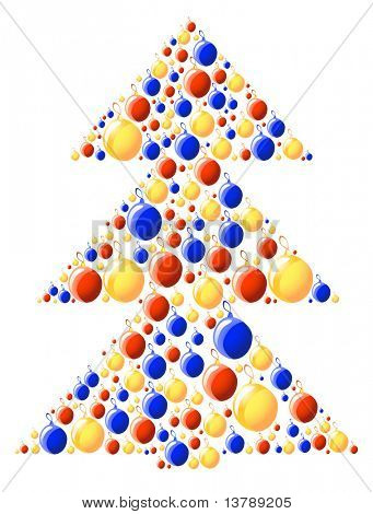 Vector illustration of xmas-tree made of color balls